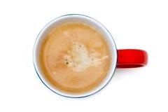 Odgórny widok filiżanka kawy, odizolowywa na bielu zdjęcia stock