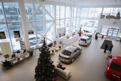 Odgórny widok foyer z przyjęciem i samochodami Obraz Royalty Free
