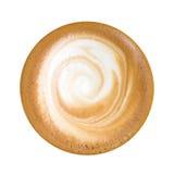 Odgórny widok gorący kawowy cappuccino odizolowywający na białym tle, zdjęcia royalty free