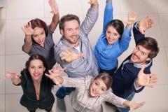 Odgórny widok grupa ludzi. Zdjęcia Stock