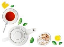 Odgórny widok herbaciany składnika tło Zdjęcia Stock