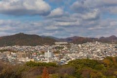 Odgórny widok Himeji siedziby śródmieście od Himeji kasztelu obraz royalty free