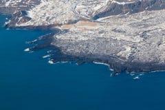 Odgórny widok, Iceland seacoast podczas zima sezonu Zdjęcia Royalty Free