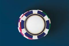 Odgórny widok Kasynowi grzebaków układy scaleni na błękitnym tle Online kasynowa układ scalony gra na błękita stołowym uprawia ha ilustracja wektor