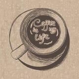Odgórny widok kawa na papierze Ilustracja Wektor