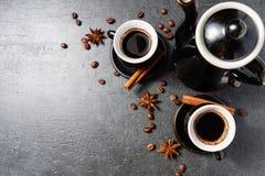 Odgórny widok kawowego kubka kontrpara, anyży kijów odgórny widok, Obrazy Stock