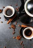 Odgórny widok kawowego kubka kontrpara, anyży kijów odgórny widok, Obrazy Royalty Free