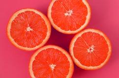 Odgórny widok kilka grapefruitowi plasterki na jaskrawym tle w menchiach barwi Naszły cytrus tekstury wizerunek zdjęcie stock