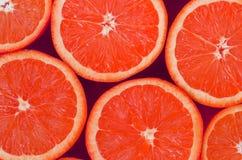 Odgórny widok kilka grapefruitowi plasterki na jaskrawym tle w menchiach barwi Naszły cytrus tekstury wizerunek obraz stock