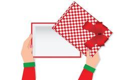 Odgórny widok kobieta wręcza trzymać pustego prezenta pudełko Fotografia Royalty Free
