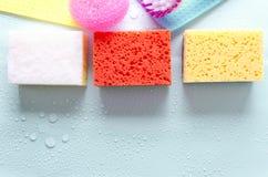 Odgórny widok kolorowi czyści narzędzia na błękit mokrej powierzchni Pojęcie różnorodny produkt dla domowy czyścić zdjęcie stock