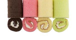 Odgórny widok kolorowy plasterek rolki tort Zdjęcia Royalty Free