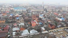 Odgórny widok Krasnodar miasta chmurny ranek zbiory