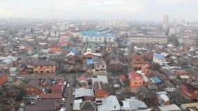 Odgórny widok Krasnodar miasta chmurny ranek zdjęcie wideo