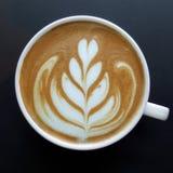 Odgórny widok kubek latte sztuki kawa Obraz Stock