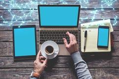 Odgórny widok laptop, pastylka komputer osobisty, mądrze telefon fotografia royalty free