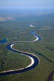 Odgórny widok lasowa rzeka Obraz Stock