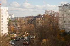 Odgórny widok lokalna ulica Fotografia Stock