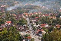 Odgórny widok Luang Prabang podczas zmierzchu Zdjęcia Royalty Free