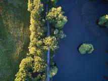Odgórny widok mały jezioro wokoło zieleni drzewa i z małą ulicą lub ścieżką Fotografia Royalty Free