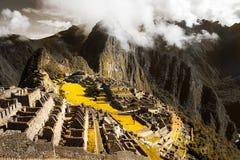 Odgórny widok Mach Picchu, Peru który był częścią inka imperium, obraz royalty free