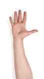 Odgórny widok man& x27; s ręki palma up, odizolowywający na białym tle Zdjęcie Stock