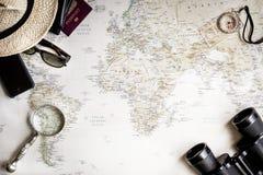 Odgórny widok mapa świat dla planować wycieczkę fotografia royalty free