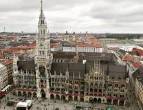 Odgórny widok Marienplatz fotografia stock