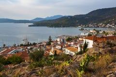 Odgórny widok marina przy Poros wyspą, Grecja Podróż Fotografia Stock