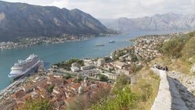 Odgórny widok miasto Kotor, Montenegro Obraz Stock