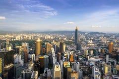 Odgórny widok miasto Kuala Lumpur obrazy stock