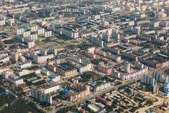 Odgórny widok miasto Nizhnevartovsk w wiośnie Obraz Stock