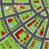 Odgórny widok miasto ulicy, drogi, domy, treetop Zdjęcie Stock