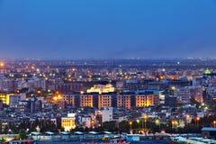 Odgórny widok miasto w wieczór iluminaci, Teheran, Iran fotografia royalty free