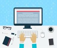 Odgórny widok miejsce pracy Wchodzić do zawartość na komputerze ilustracja wektor