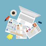 Odgórny widok miejsce pracy z dokumentami i laptopem ilustracja wektor