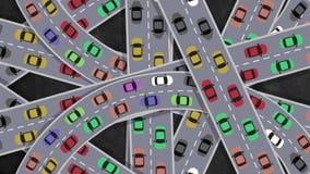 Odgórny widok na Ciężkiego ruchu drogowego samochodów jeżdżeniu w skrzyżowaniu w godzinie szczytu - looping