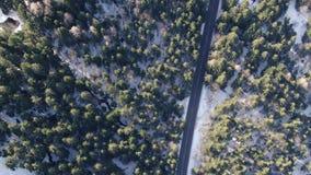 Odgórny widok na drodze otaczającej lasem zakrywającym w śniegu, 4k zdjęcie wideo
