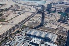 Odgórny widok na Dubaj śródmieściu od wysokiego budynku w Obraz Stock