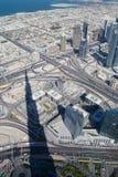 Odgórny widok na Dubaj śródmieściu od wysokiego budynku w Obrazy Royalty Free