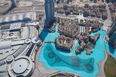 Odgórny widok na Dubaj śródmieściu od wysokiego budynku w Obraz Royalty Free