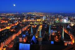 Odgórny widok na Gdańskim przy nocą Zdjęcia Royalty Free