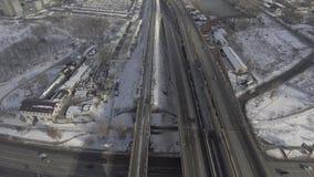 Odgórny widok na miasteczku z śniegiem zbiory wideo