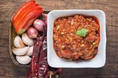 Odgórny widok Nam prik ong Północny Tajlandzki mięso i Pomidorowy Korzenny d Zdjęcia Stock