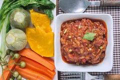 Odgórny widok Nam prik ong Północny Tajlandzki mięso i Pomidorowy Korzenny d Obraz Stock