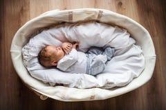 Odgórny widok nowonarodzony dziecko w domu, śpi w Moses koszu zdjęcia royalty free