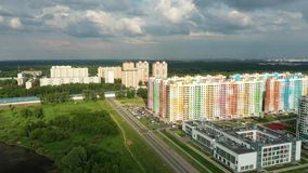 Odgórny widok nowy kolorowy obszar zamieszkały Moskwa zdjęcie wideo