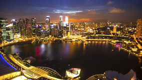 Odgórny widok od dachowego Marina zatoki hotelu na Singapur Podróż Zdjęcia Stock