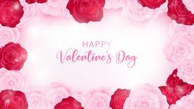 Odgórny widok odizolowywa valentine kwiecistego zaproszenie zaokrągla różowego i czerwonego rosestop widoku valentine invitationt ilustracja wektor