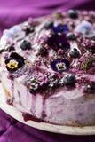 Odgórny widok płatowaty tort z czarnymi jagodami i bzem obraz stock